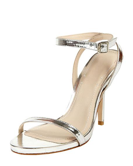 Toni Ankle Strap Bare Sandal, Silver