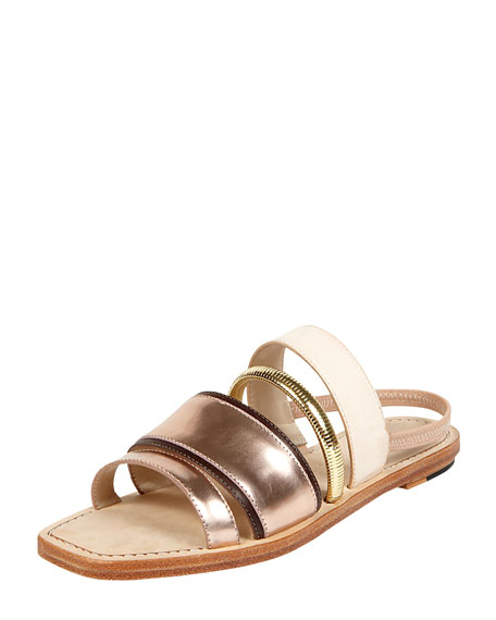 Nicki Mixed Media Slingback Flat Sandal, Blush