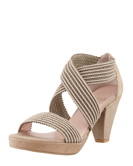 Overreact Ottoman Stretch Sandal, Taupe