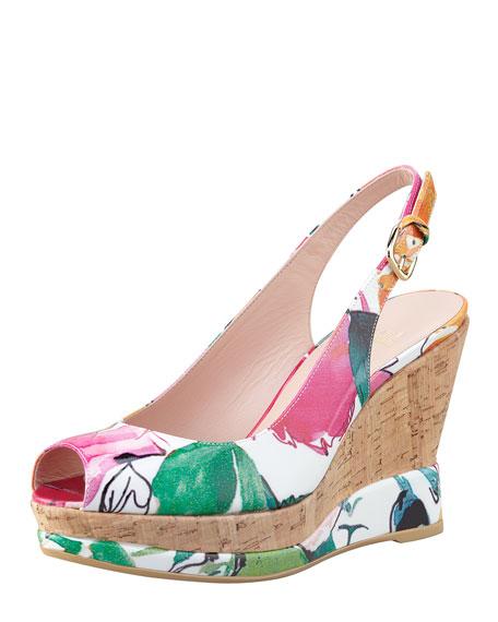 Jean Floral-Print Patent Wedge Sandal