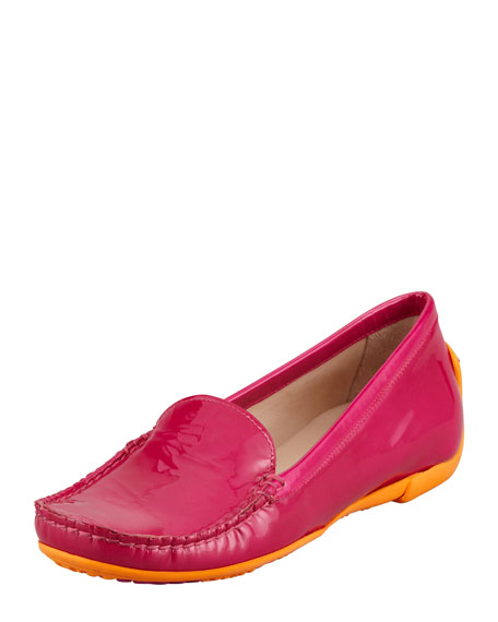 Mach 1 Patent Leather Driver Moccasin, Hibiscus Pink
