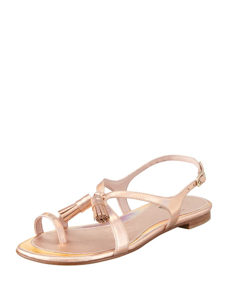Flapper Hologram Specchio Flat Sandal, Rose
