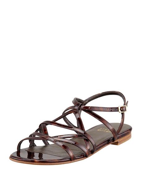 Transito Strappy Flat Sandal, Cognac Tortuga