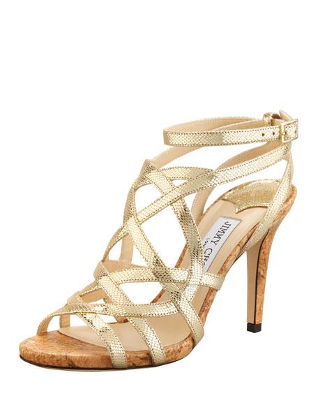 Deeta Metallic Strappy Cork Platform Sandal, Gold