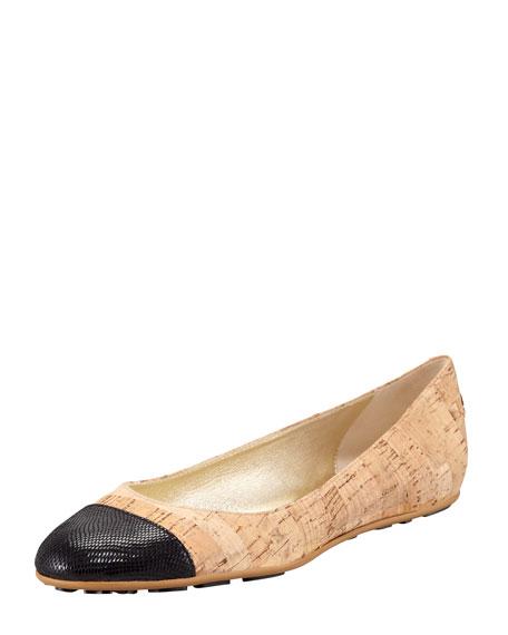 Whirl Cork Ballerina Flat, Black