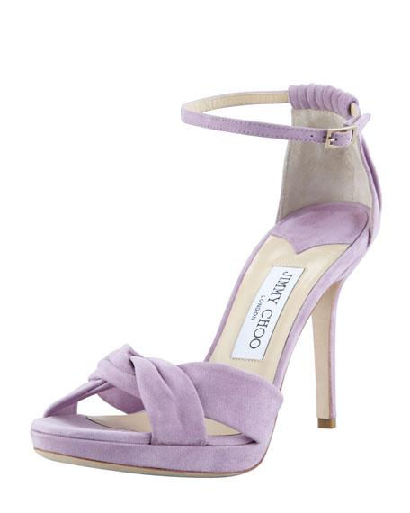 Marion Suede Platform Sandal, Peony
