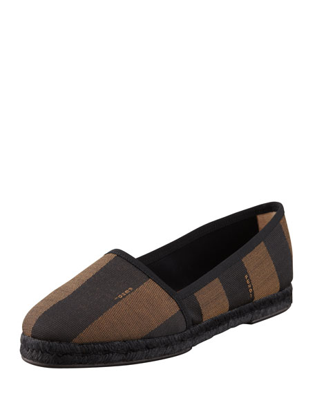 Pequin Striped Canvas Espadrille Flat, Black