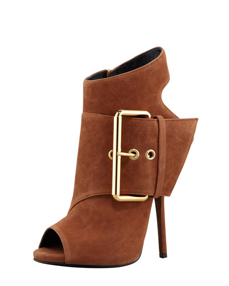 Open-Toe Side-Buckle Ankle Boot, Brown