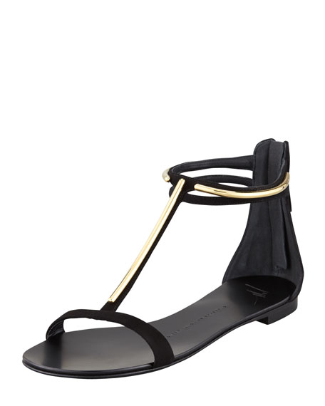 Suede T-Strap Flat Sandal