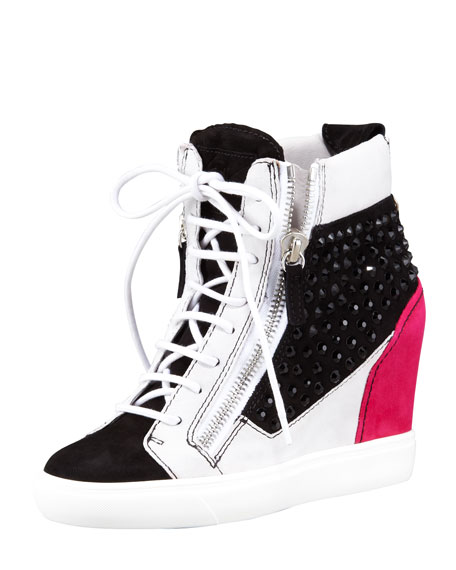 Crystal Colorblock Wedge Sneaker, Black/Pink/White