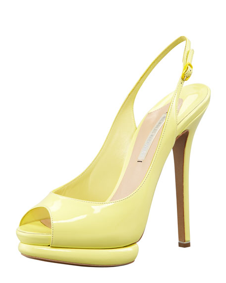 Patent Leather Platform Peep-Toe Slingback