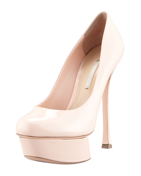 Patent Leather Platform Pump, Pink