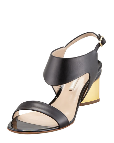 Metallic-Heel Leather Sandal, Black