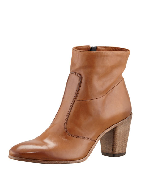 Diva Leather Ankle Boot, Cuoio