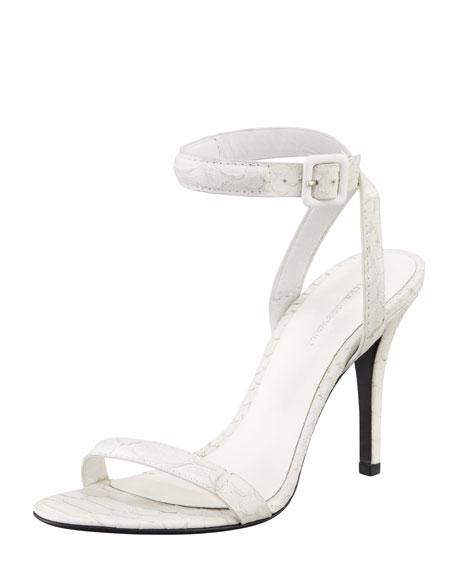 Antonia Python-Embossed Ankle-Wrap Sandal