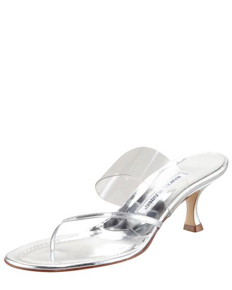 Gheniaba Specchio Thong Slide Sandal, Silver