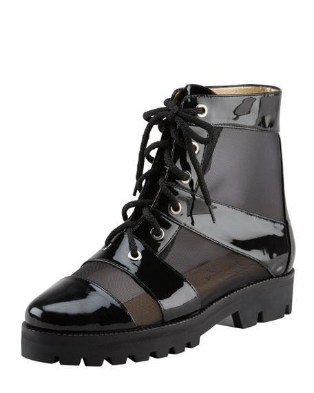 Mesh & Patent Combat Boot, Black