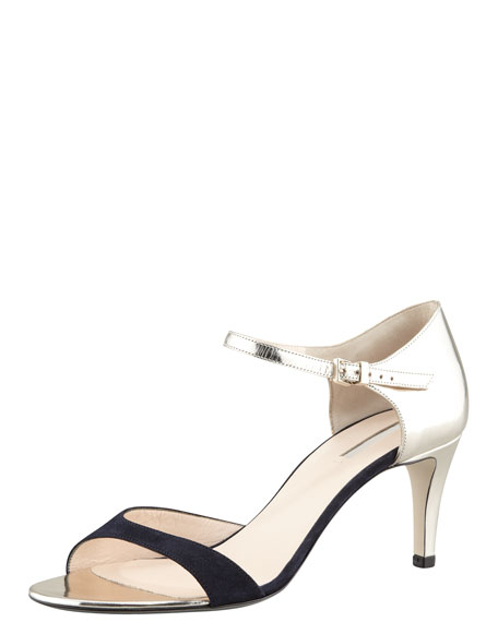 Ankle-Strap Stiletto Sandal, Blue/Platino