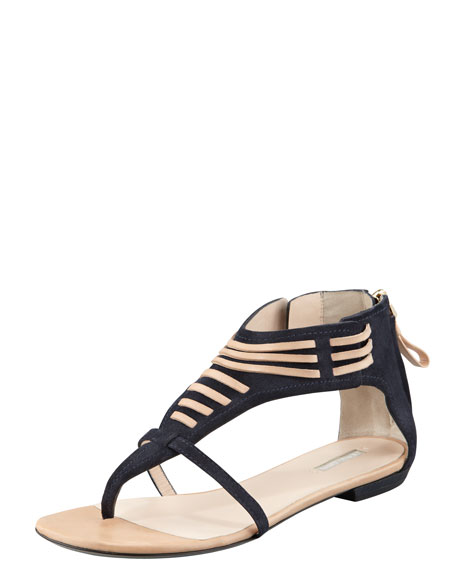 Laced Panel Flat Sandal, Blue/Sahara