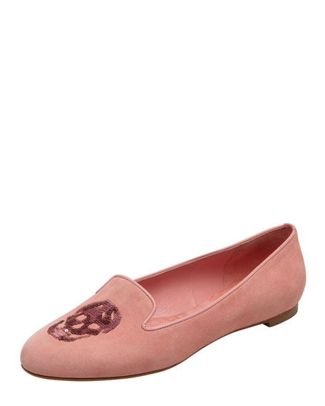 Embroidered Sequined Skull Smoking Slipper, Pink