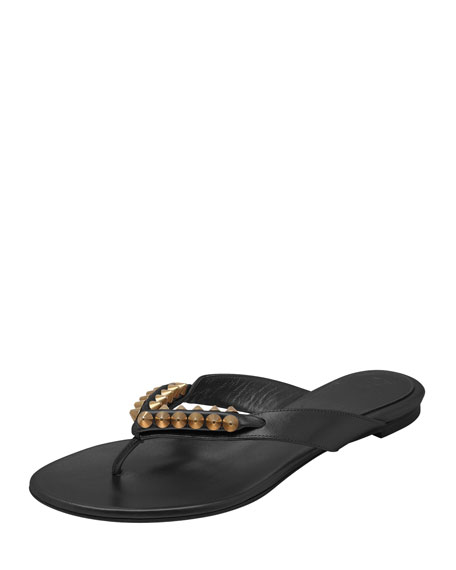 Spiked Flat Thong Sandal, Black