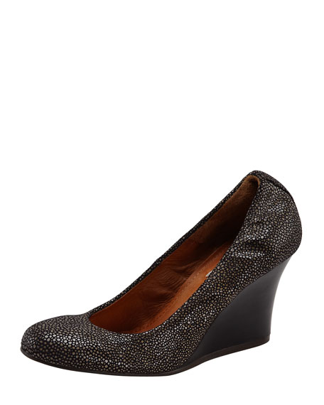 Faux Stingray Wedge Pump, Dark Gray
