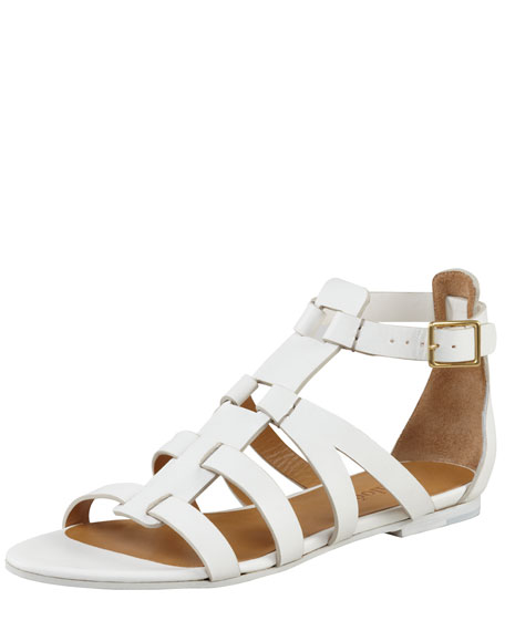 Flat Gladiator Sandal, White