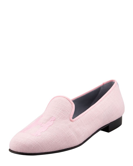 Audrey Linen Smoking Loafer, Pink