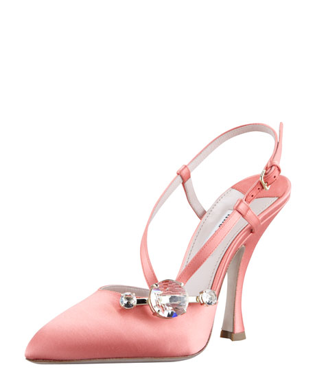 Satin Side-Jewel Slingback Pump