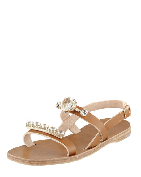 Jeweled Double-Strap Sandal, Cammello