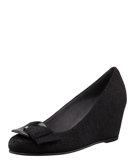 Lizette Buckled Demi-Wedge Pump, Black