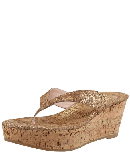 Clasp Cork-Wedge Thong Sandal