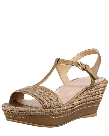 Flatty Metallic Raffia Flatform Wedge Sandal, Gold