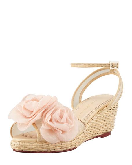 Fleurette Wicker-Woven Leather Wedge Sandal