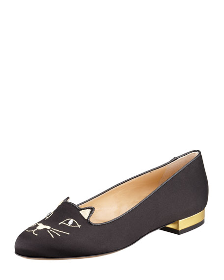 Kitty Cat Satin Flat Slipper, Black