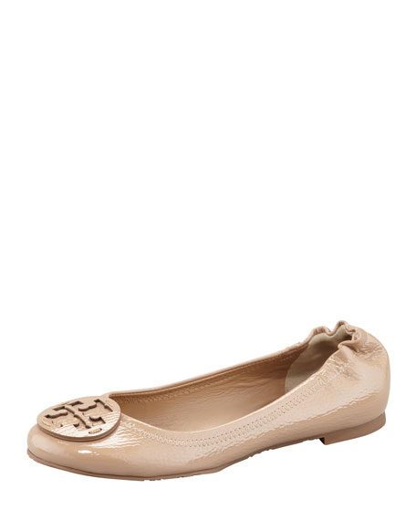 Reva Tonal Logo Ballerina Flat, Cley Beige