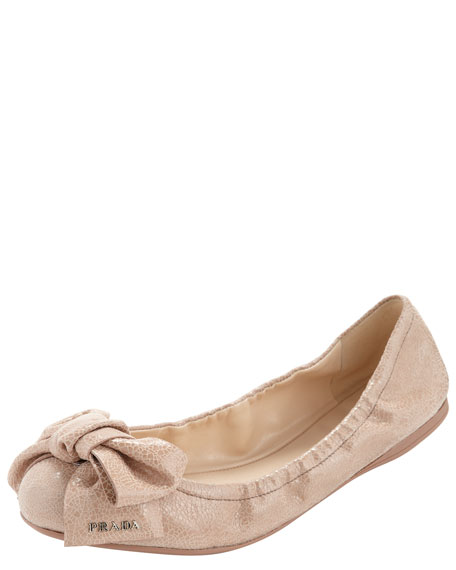 Crackled Metallic Bow-Toe Ballet Flat