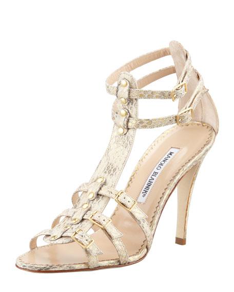 Axez Metallic Snake Sandal, Gold