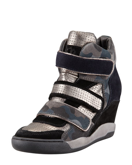 Alexis Military Wedge Sneaker, Black