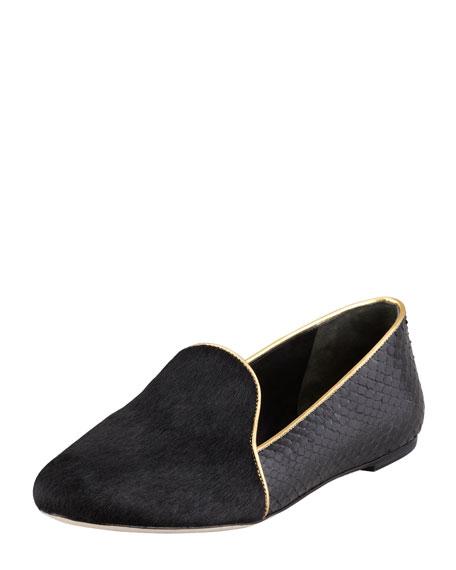 Claudelle Calf Hair & Snakeskin Smoking Slipper, Black/Gold