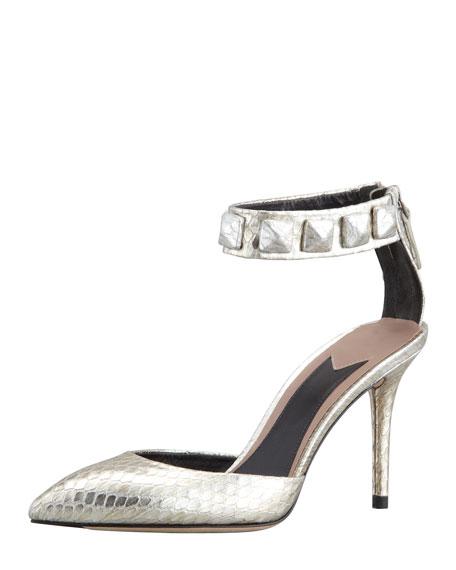 Mercada Snakeskin Studded Ankle-Band Sandal