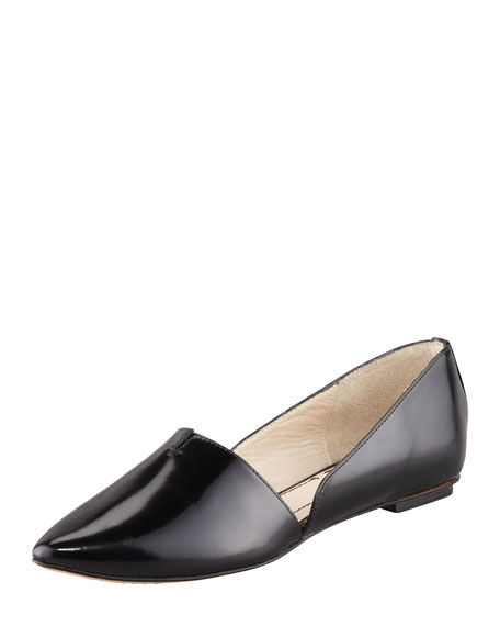 Box Leather d'Orsay Flat, Black