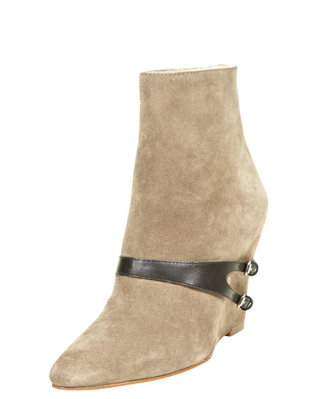 Reily Harness Suede Wedge Bootie, Stone