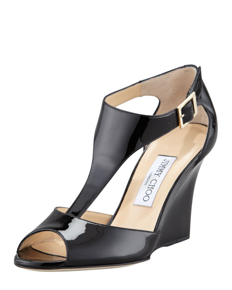 Token T-Strap Wedge, Black
