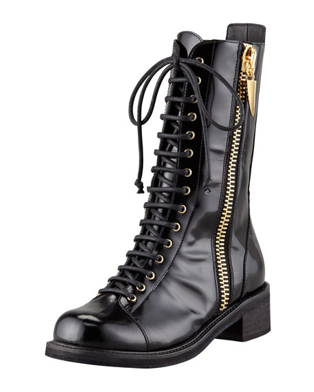 Side-Zip Combat Boot, Black