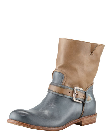 Two-Tone Buckled Ankle Boot