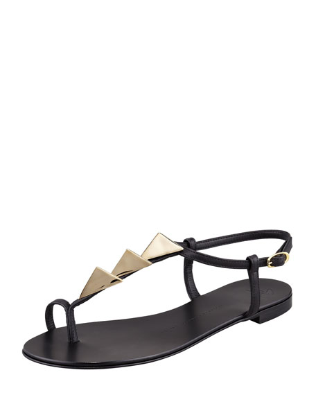 Triangle-Stud Flat Thong Sandal, Black