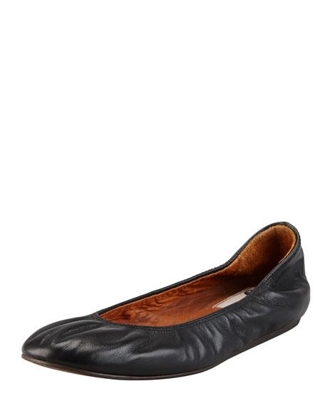 Scrunched Leather Classic Ballerina Flat, Black