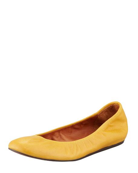 Classic Leather Ballerina Flat, Mustard