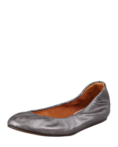 Classic Lizard-Print Ballerina Flat, Gray